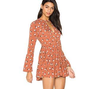 Free People Tegan Printed Dress in Orange Combo